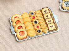 Load image into Gallery viewer, Miniature food cookies made from polymer clay presented on a metal baking tray