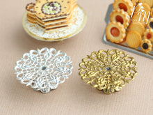Load image into Gallery viewer, Ornate Metal Filigree Cake Stand - Gold or Silver - 2.5 cm / 1 inch diameter. 12th Scale