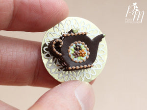 Teapot Shaped Millefeuille Chocolate Cake - Miniature Food
