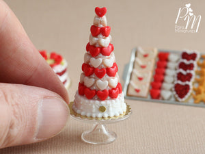 Red and White Hearts Pièce Montée (Valentine's Celebration Cake) - Miniature Food
