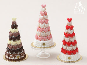 Pink and White Hearts Pièce Montée (Valentine's Celebration Cake) - Miniature Food