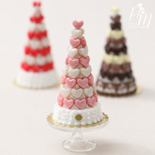 Load image into Gallery viewer, Pink and White Hearts Pièce Montée (Valentine's Celebration Cake) - Miniature Food