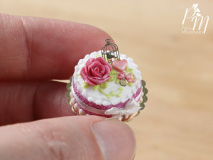 Pink Cake Decorated with Pink Rose, Heart, Golden Birdcage -  Miniature Food