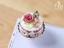 Load image into Gallery viewer, Pink Cake Decorated with Pink Rose, Heart, Golden Birdcage -  Miniature Food