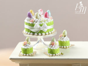 Easter Cake with Colourful Eggs and Rabbit - Spring Green - Miniature Food