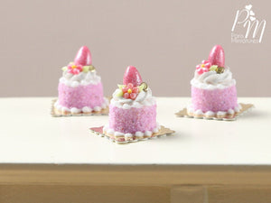 Easter Individual Pastry (Genoise) Decorated with Candy Egg and Blossom - Pink