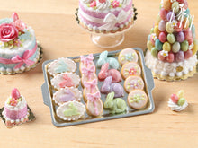 Load image into Gallery viewer, Easter Cookies and Rabbit Candies on Metal Baking Tray - Miniature Food in 12th Scale for Dollhouse