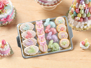 Easter Cookies and Rabbit Candies on Metal Baking Tray - Miniature Food in 12th Scale for Dollhouse