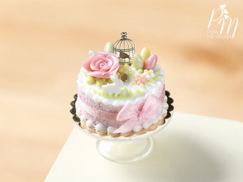 Beautiful Light Pink Easter Cake with Rose, Eggs, Rabbit, Golden Birdcage - Miniature Food