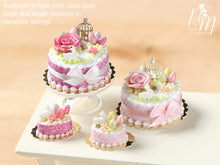 Load image into Gallery viewer, Beautiful Light Pink Easter Cake with Rose, Eggs, Rabbit, Golden Birdcage - Miniature Food