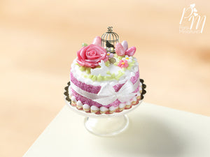 Beautiful Dark Pink Easter Cake with Rose, Eggs, Rabbit, Golden Birdcage - Miniature Food