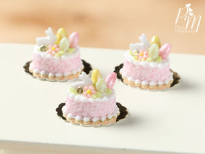 Easter Individual Pastry Decorated with Candy Eggs and Bunny - Light Pink