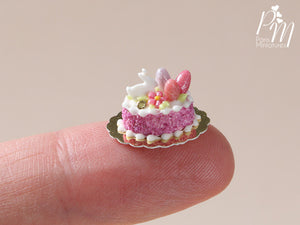 Easter Individual Pastry Decorated with Candy Eggs and Bunny - Dark Pink - Miniature Food
