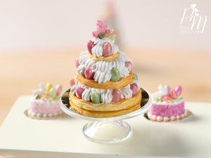 Triple Layered Easter St Honoré - Miniature Food in 12th Scale for Dollhouse