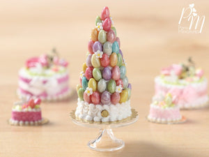 "Easter Pièce Montée ""Tree"" with Colourful Sugar Eggs dollshouse miniature"