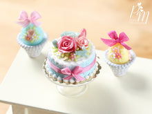 Load image into Gallery viewer, Easter Cake with a Trio of Colourful Spring Roses, Eggs and Tiny Rabbit