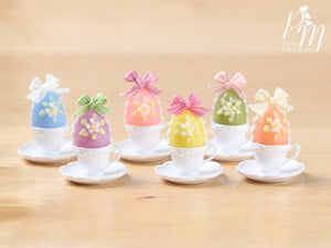 Candy Easter Egg Decorated with Blossoms in Egg Cup - Purple Egg