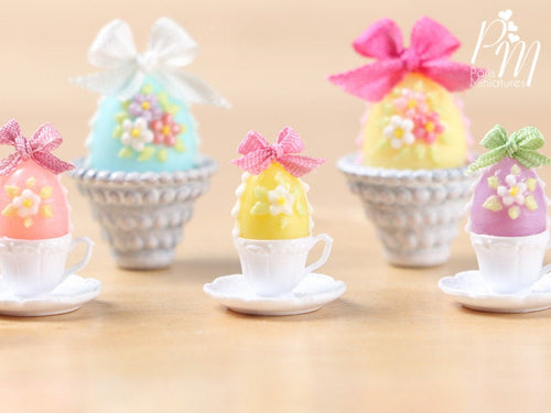 Candy Easter Egg Decorated with Blossoms in Egg Cup - Yellow Egg