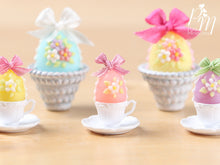 Load image into Gallery viewer, Candy Easter Egg Decorated with Blossoms in Egg Cup - Pink Egg