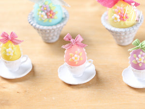 Candy Easter Egg Decorated with Blossoms in Egg Cup - Pink Egg