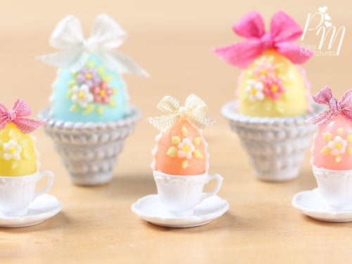 Candy Easter Egg Decorated with Blossoms in Egg Cup - Peach Egg