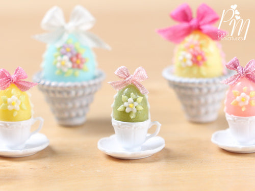 Candy Easter Egg Decorated with Blossoms in Egg Cup - Green Egg