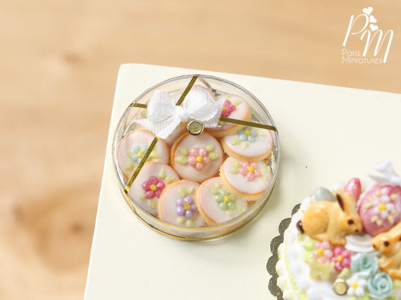 Box of Spring Blossom Butter Cookies - Miniature Food in 12th Scale