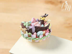Beautiful French Easter Basket with Chocolate Rabbit, Fruits de Mer (Seafood) (E) – Miniature Food