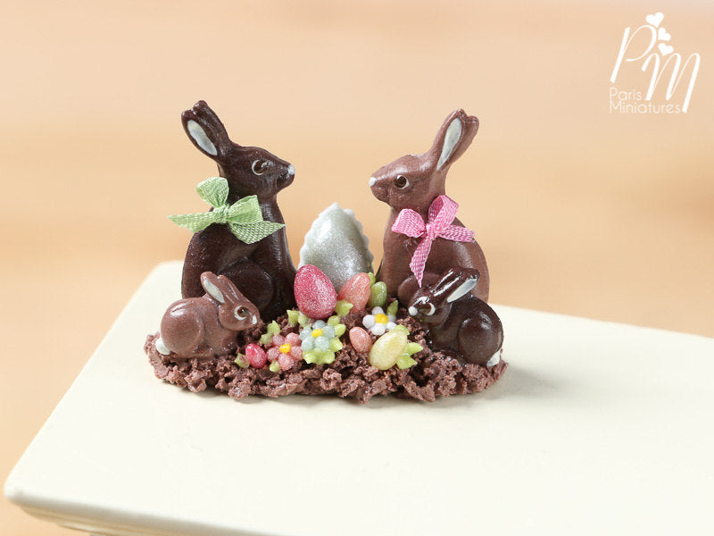 Chocolate Easter Rabbit Family Display (A) - Miniature Food in 12th Scale