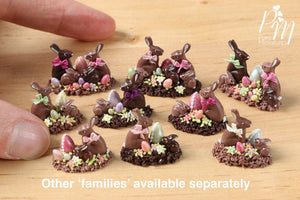 Chocolate Easter Rabbit Family Display (I) - Miniature Food in 12th Scale
