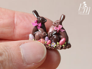 Chocolate Easter Rabbit Family Display (C) - Miniature Food