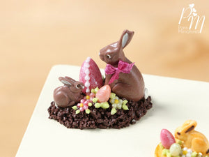 Chocolate Easter Rabbit Family Display (F) - Miniature Food in 12th Scale for Dollhouse
