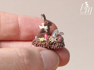 Chocolate Easter Rabbit Family Display (H) - Miniature Food in 12th Scale