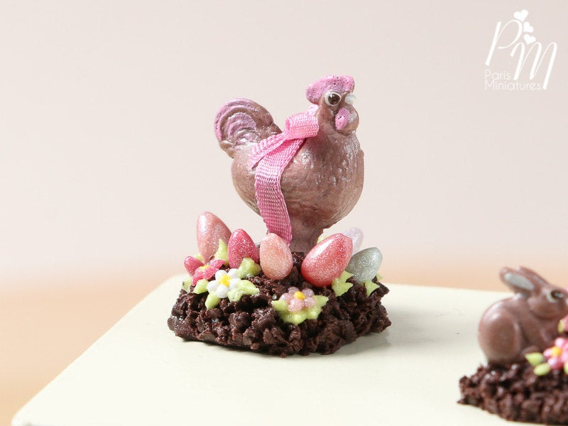 Milk Chocolate Hen Easter Display (B) - Miniature Food in 12th Scale for Dollhouse