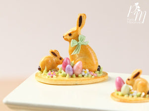 Easter Cookie Rabbit Family Display (C) - Miniature Food in 12th Scale