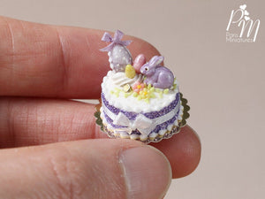 Beautiful Easter Spring Cake Decorated with Candy Rabbit, Easter Eggs, Blossoms - Miniature Food