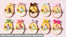 "Load image into Gallery viewer, Easter Shortbread Cookie ""Basket"" Decorated with Rabbit, Blossoms, Egg, Bunny, Chocolate Silk Bow"
