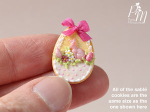 "Easter Egg Shortbread Sablé ""Basket"" Cookie (H) - Miniature Food in 12th Scale for Dollhouse"