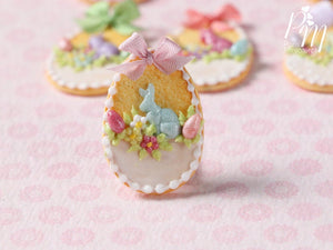 "Easter Egg Shortbread Sablé ""Basket"" Cookie (B) - Miniature Food in 12th Scale for Dollhouse"