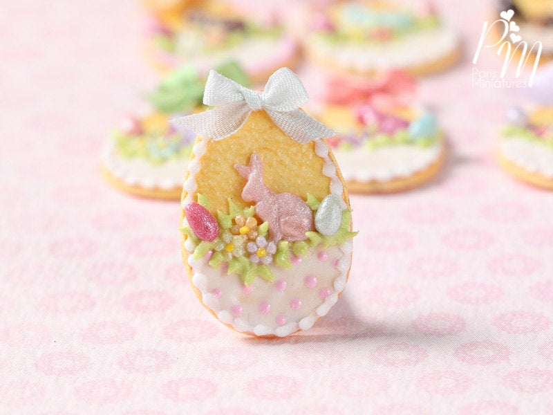 "Easter Shortbread Cookie ""Basket"" Decorated with Rabbit, Blossoms, Egg, Bunny, White Silk Bow"
