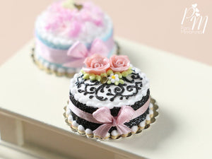 Miniature Black and White Cake Decorated with Pink Roses - Miniature Food