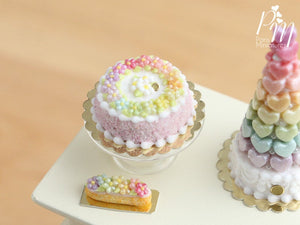 Rainbow Blossoms Cake - Pink - Miniature Food for Dollhouse 12th scale