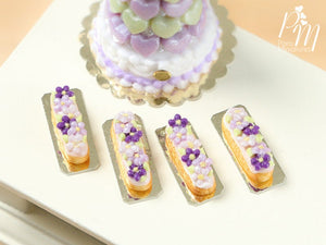 French Eclair Decorated with Purple and Lilac Blossoms - Miniature Food for Dollhouse 12th scale