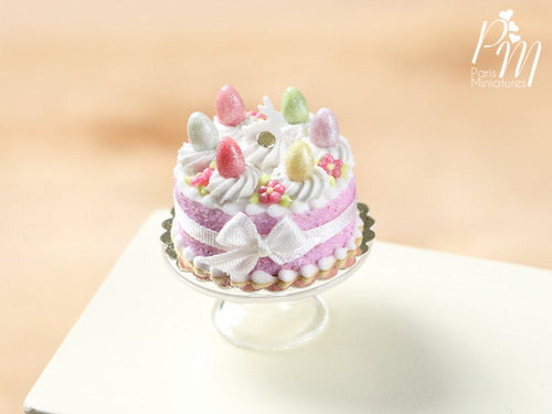 Easter Cake with Colourful Eggs and Rabbit - Pink - Miniature Food in 12th Scale for Dollhouse