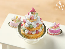 Load image into Gallery viewer, Triple Layered Easter St Honoré - Miniature Food in 12th Scale for Dollhouse