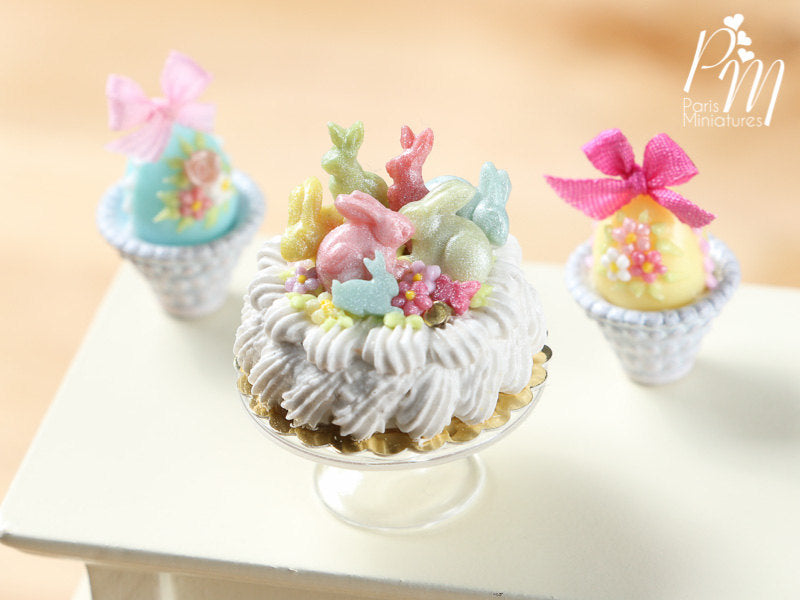 Easter Cream Cake Decorated with Colourful Candy Rabbits