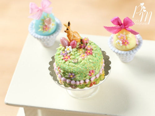 Spring Garden Miniature Easter Cake Decorated with Bunny Cookie, Pink Eggs, Blossoms