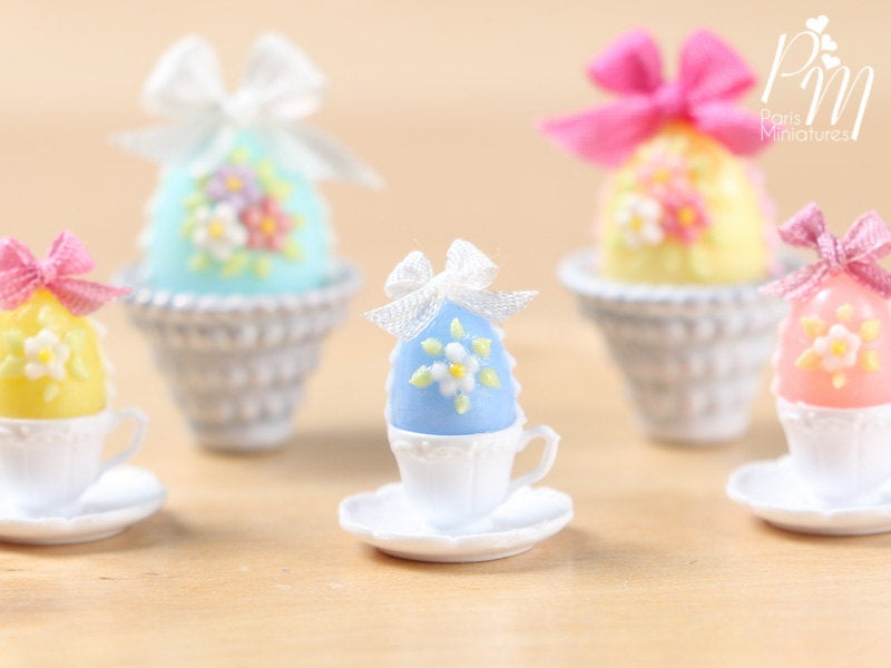 Candy Easter Egg Decorated with Blossoms in Egg Cup - Wedgwood Blue Egg
