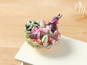 Beautiful French Easter Basket with Chocolate Rabbit, Fruits de Mer (Seafood) (D) – Miniature Food