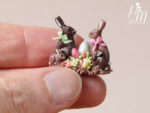 Load image into Gallery viewer, Chocolate Easter Rabbit Family Display (A) - Miniature Food in 12th Scale